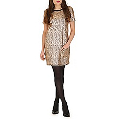 Madam Rage - Gold cracked metalic shift dress