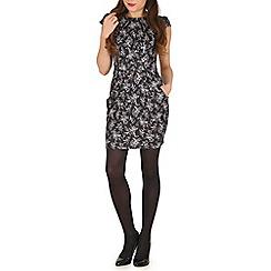 Voulez Vous - Black ditsy floral pleats pockets dress