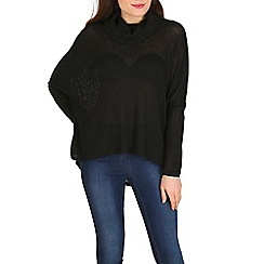 Voulez Vous - Black textured cowl neck long sleeve top