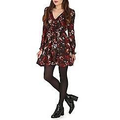 Madam Rage - Multicoloured dark floral wrapped dress