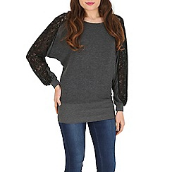 Izabel London - Grey contrast lace panel top