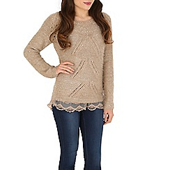 Tenki - Brown lace hem jumper