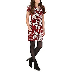 Tenki - Maroon flower cowl neck tunic