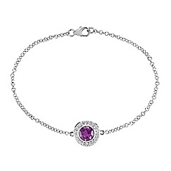The Genuine Gemstone Company - Purple amethyst sterling silver bracelet