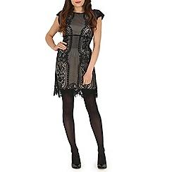 Voulez Vous - Black lace mesh panels dress