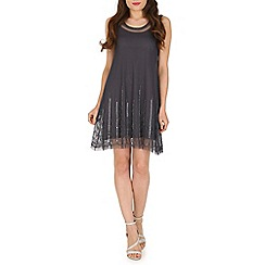 Voulez Vous - Silver beaded mesh swing dress
