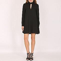 Voulez Vous - Black high neck keyhole shirt dress