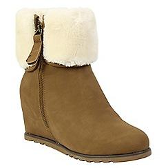 Keddo - Beige wedge suede boots