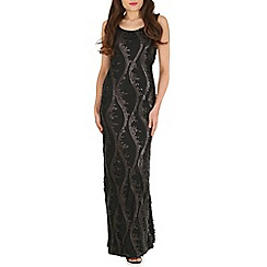 Amaya - Black lace sequin maxi dress