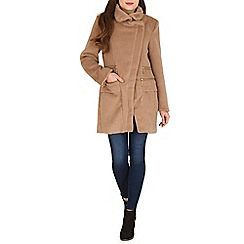 Blue Vanilla - Camel zip detail cross over coat