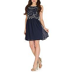 Blue Vanilla - Blue embellished keyhole back dress