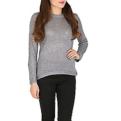 Blue Vanilla - Silver split back sequin sparkle jumper