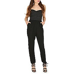Blue Vanilla - Black textured top jumpsuit