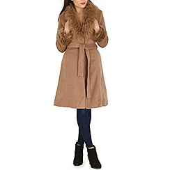 Blue Vanilla - Camel faux fur collar belted coat