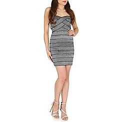 Blue Vanilla - Silver strapless sweetheart twist dress