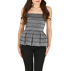 Blue Vanilla - Silver strapless textured peplum top