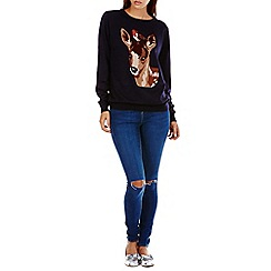 Sugarhill Boutique - Navy nita robin and deer sweater