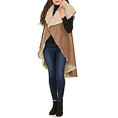 Blue Vanilla - Brown faux sheepskin waterfall gilet