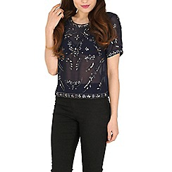 Blue Vanilla - Blue jewel & sequin embellished top