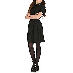 Poppy Lux - Black zoe flower collar dress