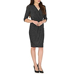 Poppy Lux - Silver paige jersey lurex wrap dress