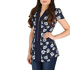 Pussycat London - Navy floral print short sleeve top