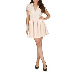 Mela - Cream lace and scuba dress