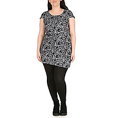 Samya - Black boarder print tunic dress