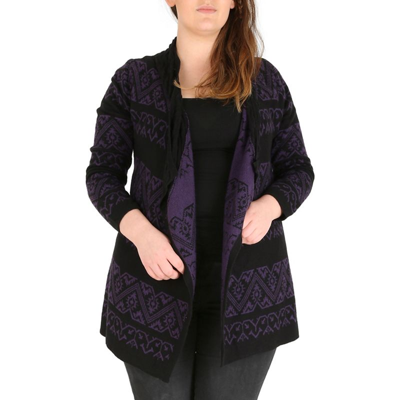 Plus Size Samya Black Geo Waterfall Knitwear Cardigan,
