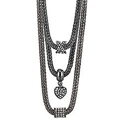 Buckley London - Silver hematite mesh necklace