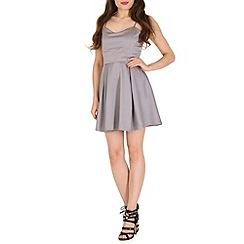 Mela - Grey back bow prom dress