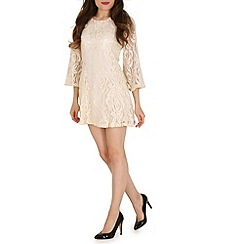 Mela - Cream lace skater dress.