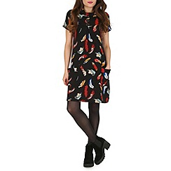 Mela - Black feather print dress