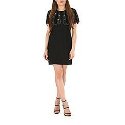 Voulez Vous - Black beads embellished capelet dress