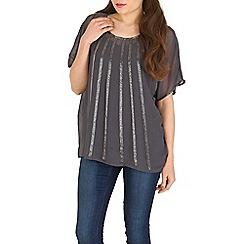 Voulez Vous - Grey mesh stripe embellished top