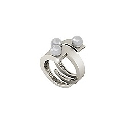 Rebecca - White rhodium plated ring with pearls
