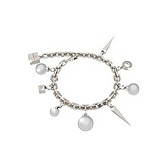 Rebecca - White rhodium plated bronze bracelet with pearls