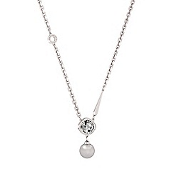 Rebecca - White rhodium plated bronze necklace with stones and pearls