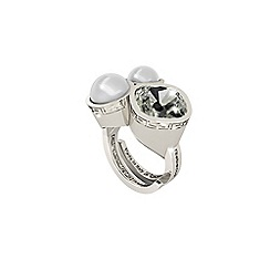Rebecca - Black white rhodium plated bronze ring with stones and pearls