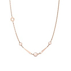 Rebecca - Rose gold plated bronze necklace with pearls