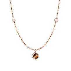 Rebecca - Rose gold plated bronze necklace with stones and pearls