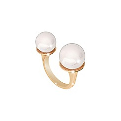 Rebecca - Yellow gold plated bronze ring with pearl