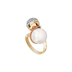 Rebecca - Yellow gold plated bronze ring with pearl and stones