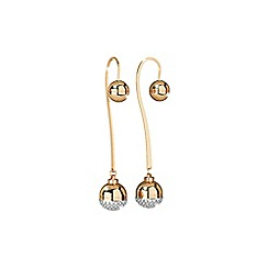 Rebecca - Yellow gold plated bronze earrings with stones