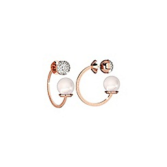 Rebecca - Rose gold plated bronze earrings with pearl and stones