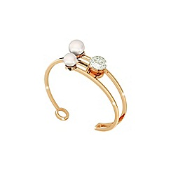 Rebecca - Yellow gold plated bronze bangle with pearls and stones