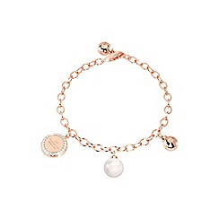 Rebecca - Rose gold plated bronze bracelet with pearl and stones