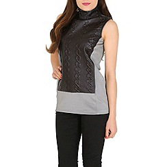 Ballentina - Grey quilted funnel collar top