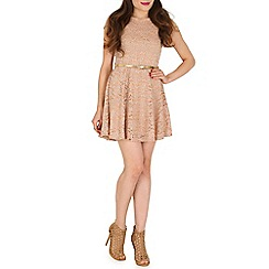 Mela - Gold cap sleeve belted lace dress