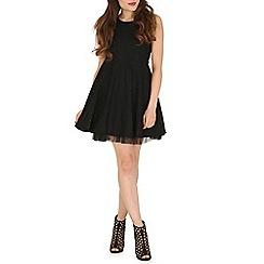 Mela - Black black lace tull prom dress